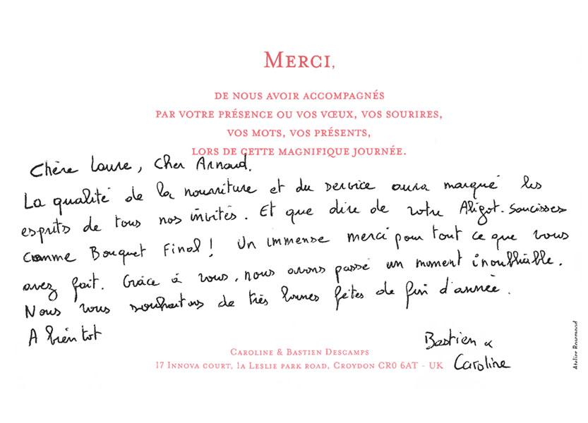 Remerciements de Bastien et Caroline pour Arnaud Lima