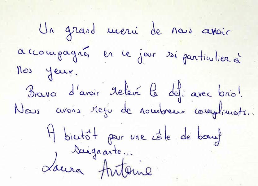 Remerciements de Laura et Antoine pour Arnaud Lima