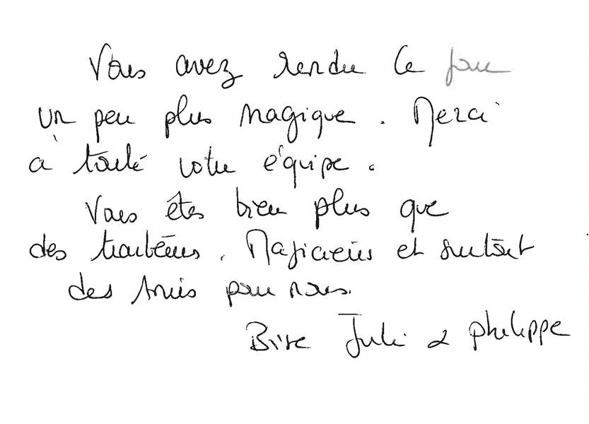 Remerciements de Julie et Philippe pour Arnaud Lima