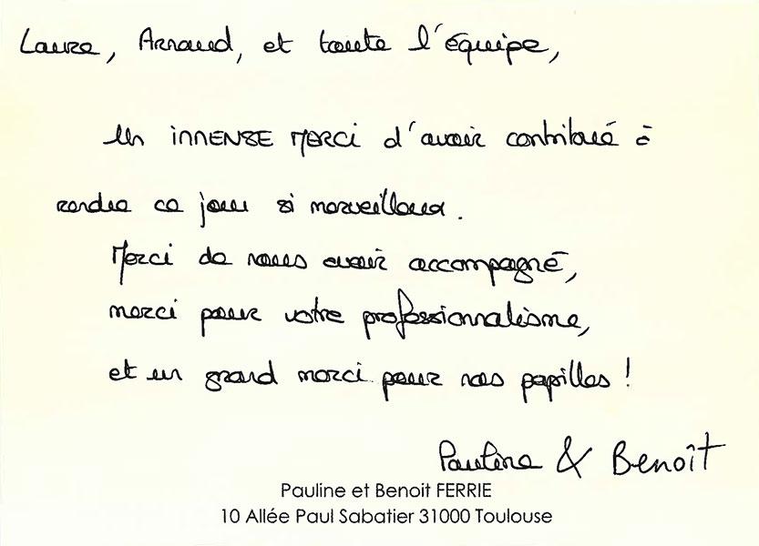 Remerciements de Pauline et Benoit pour Arnaud Lima